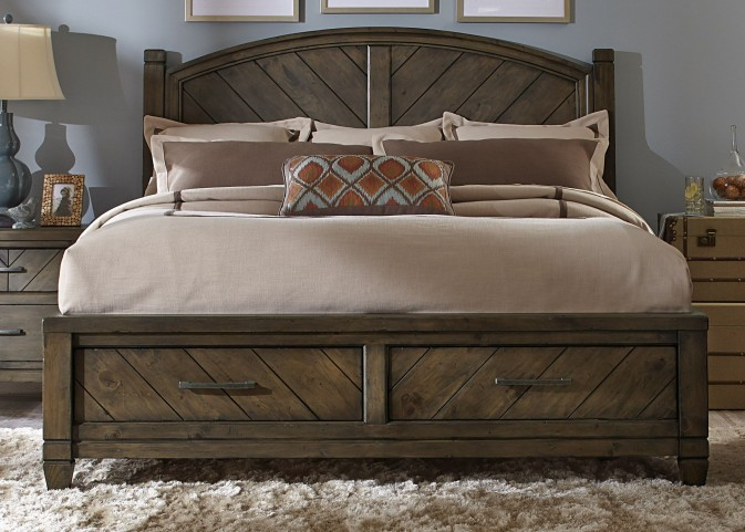 Modern Country King Poster Storage Bed