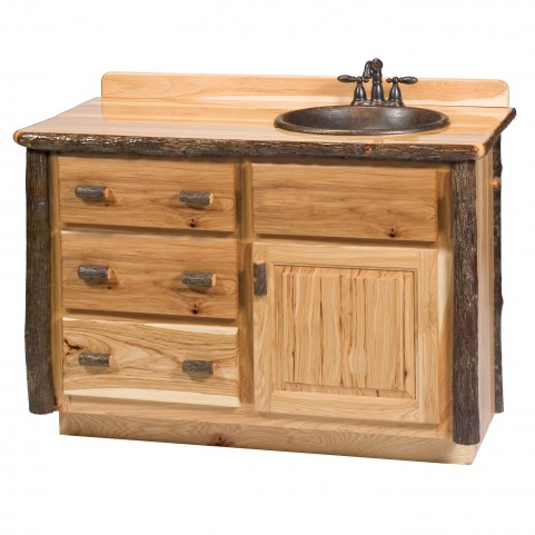 "Hickory 60"" Right Side Vanity with top"