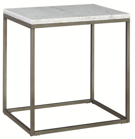Alana Acacia Marble Top Rectangular End Table