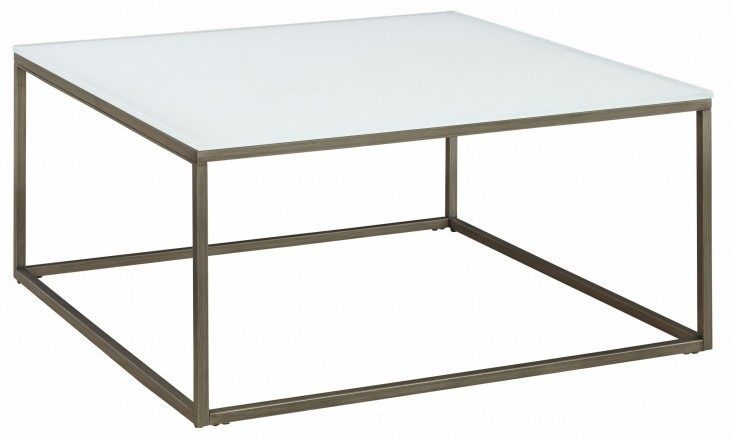Alana Frosted Glass Top Square Coffee Table