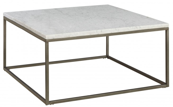 Alana Acacia Marble Top Square Coffee Table