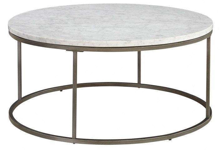 Alana Acacia Marble Top Round Coffee Table