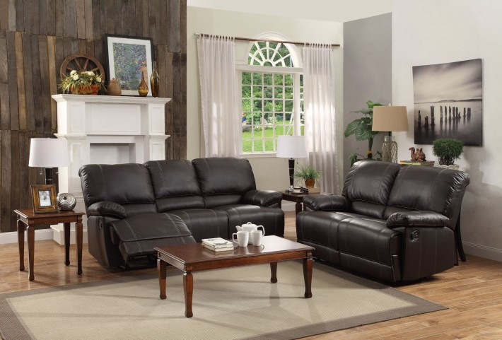 Cassville Dark Brown Double Reclining Living Room Set