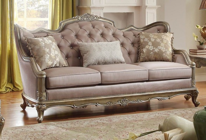 Fiorella Gold Faux Silk Sofa