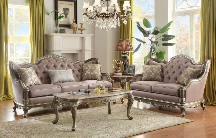 Fiorella Gold Faux Silk Living Room Set