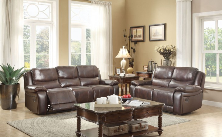 Allenwood Dark Brown Double Reclining Living Room Set