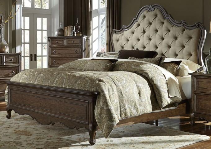 Lorraine Antique Oak Queen Upholstered Panel Bed