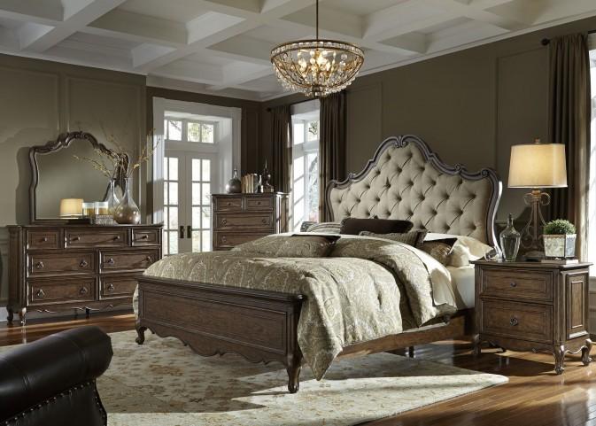 Lorraine Antique Oak Upholstered Panel Bedroom Set