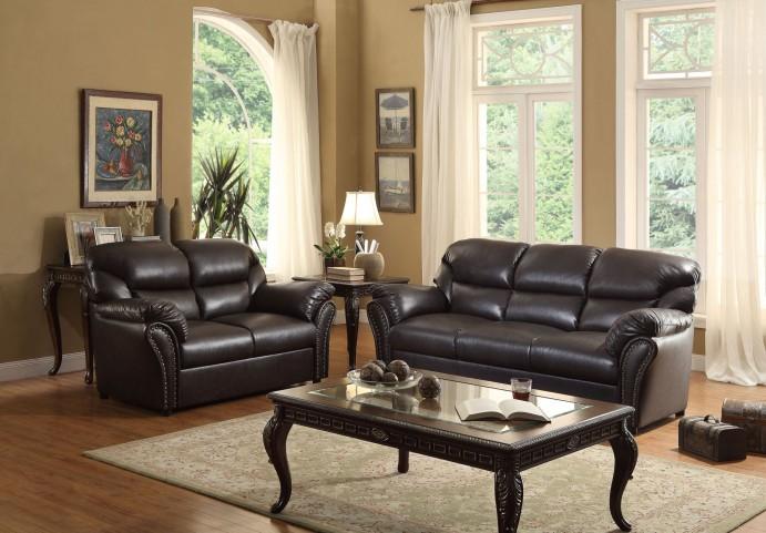 Stinett Dark Brown Living Room Set