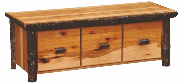 Hickory 3 Drawer Entry Bench