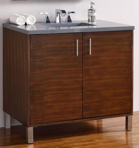 "Metropolitan 36"" American Walnut Single Vanity With 3Cm Shadow Gray Quartz Top"