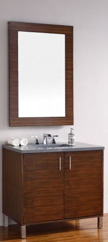 "Metropolitan 36"" American Walnut Single Vanity With 3Cm Shadow Gray Quartz Top"