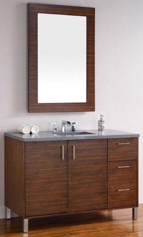 "Metropolitan 48"" American Walnut Single Vanity With 3Cm Shadow Gray Quartz Top"
