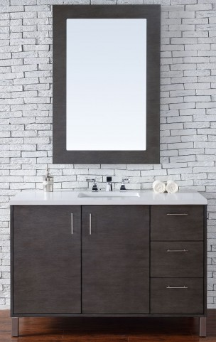 "Metropolitan 48"" Silver Oak Single Vanity With 3Cm Snow White Quartz Top"