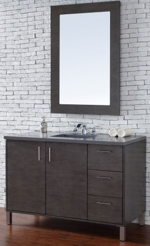 "Metropolitan 48"" Silver Oak Single Vanity With 3Cm Shadow Gray Quartz Top"