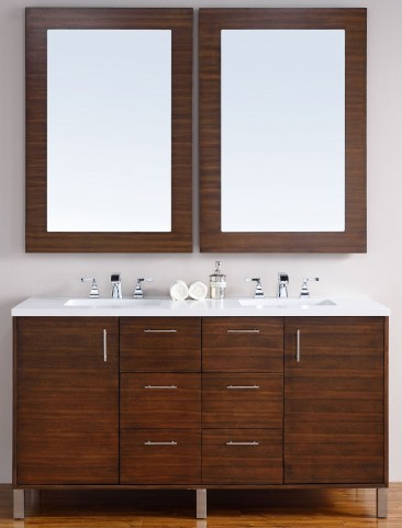 "Metropolitan 60"" American Walnut Double Vanity With 3Cm Snow White Quartz Top"