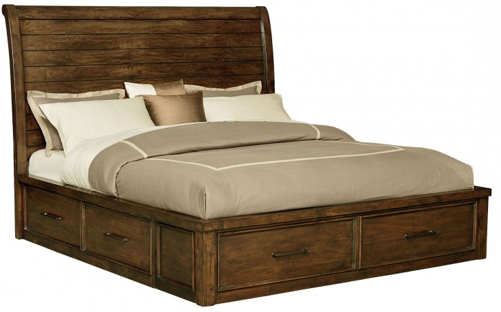 Cameron Burnished Tobacco King Sleigh Storage Bed