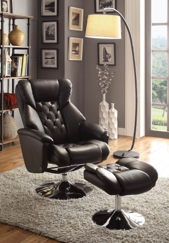 Aleron Black Swivel Reclining Chair With Ottoman