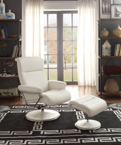 Caius White Swivel Reclining Chair With Ottoman