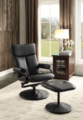 Alida Black Swivel Reclining Chair With Ottoman