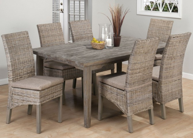 Burnt Grey Solid Oak Fixed Top Dining Room Set
