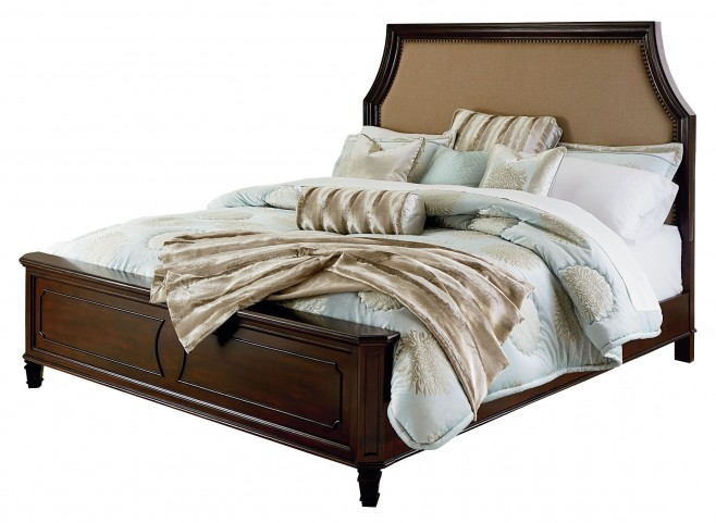 Windsor Bourbon Brown Queen Upholstered Panel Bed