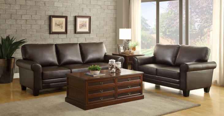 Hume Dark Brown Living Room Set
