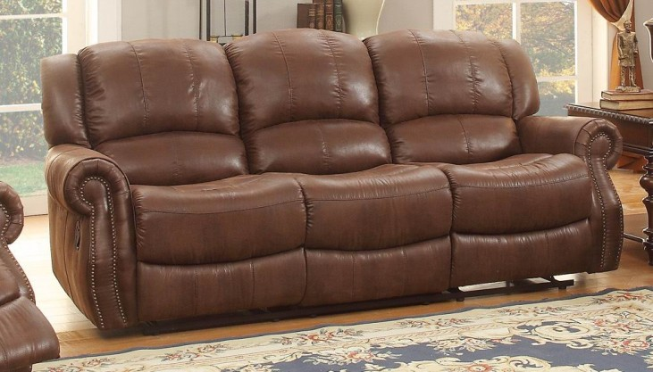 Levasy Brown Double Reclining Sofa