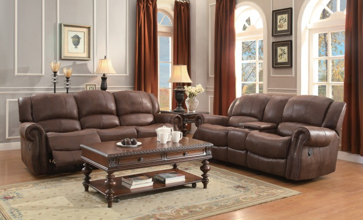 Levasy Brown Double Reclining Living Room Set