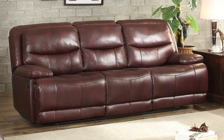 Risco Burgundy Double Reclining Sofa