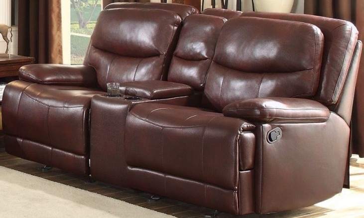 Risco Burgundy Double Glider Reclining Console Loveseat