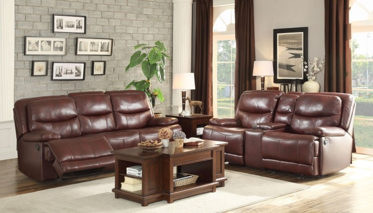 Risco Burgundy Double Reclining Living Room Set