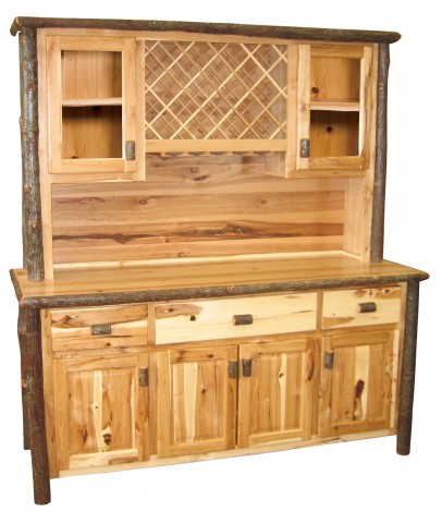 "Hickory 75"" Traditional Buffet and Hutch with Wine Rack"