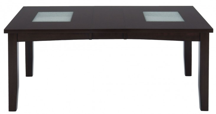 Chadwick Espresso Crackled Glass Inserts Extendable Dining Table