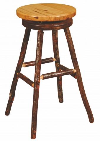 "Hickory 30"" Hickory Seat Round Bar Stool"