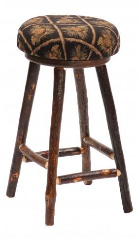 "Hickory Standard Fabrics 24"" Upholstered Seat Round Counter Stool"