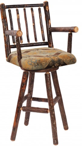 """Hickory Standard Fabric 24"""" Arms Swivel Counter Stool"""