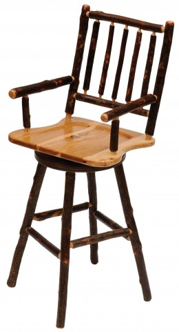 "Hickory Hickory Seat 24"" Arms Swivel Counter Stool"
