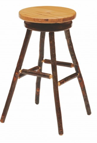 "Hickory Hickory Seat 30"" Swivel Round Bar Stool"