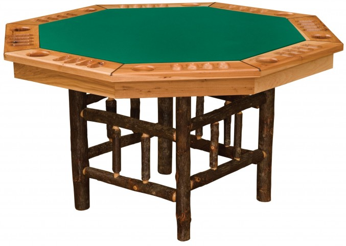 Hickory 8 Sided Poker Table with Log Framework Base