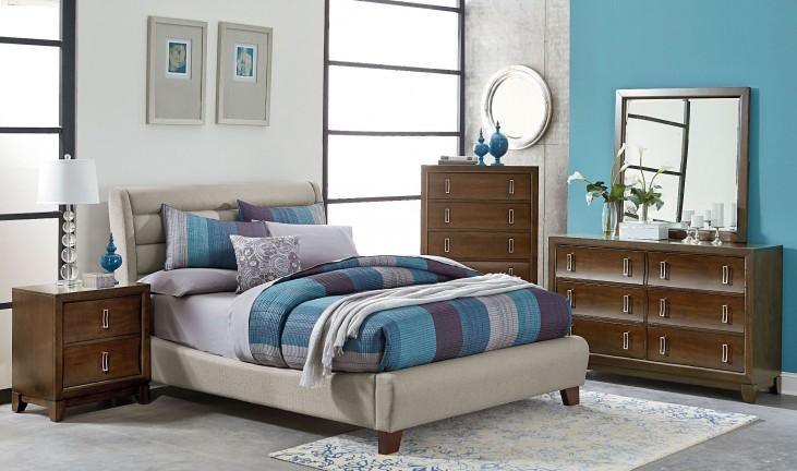 Amanoi Warm Mink Upholstered Bedroom Set