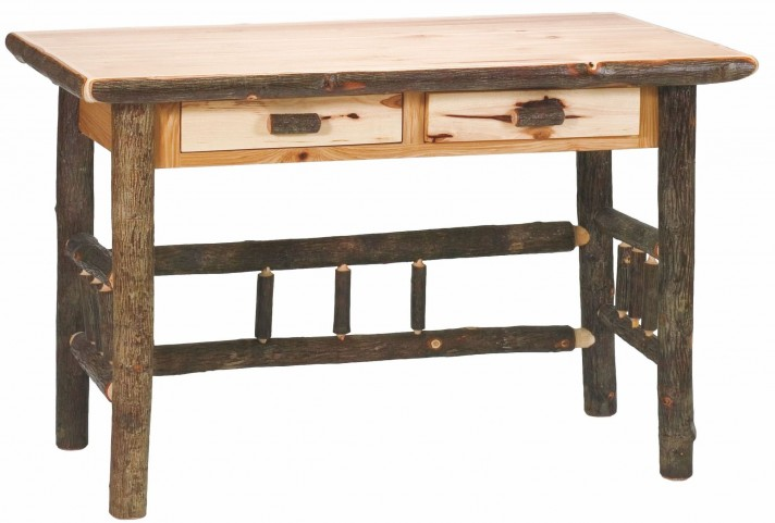Hickory 2 Drawers Standard Writing Desk