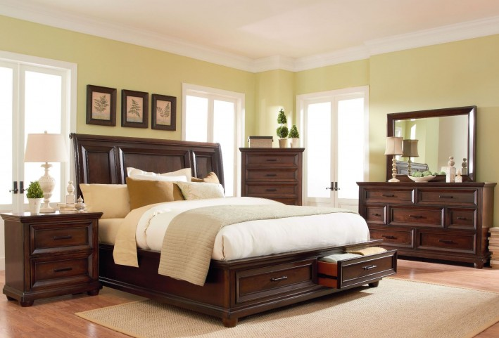 Vineyard Casual Tobacco Platform Storage Bedroom Set