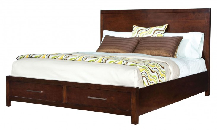 Metro Dark Merlot Queen Panel Storage Bed