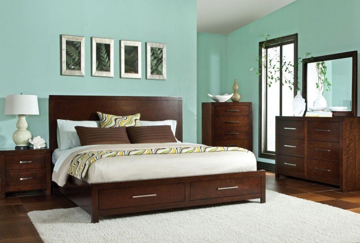 Metro Dark Merlot Panel Storage Bedroom Set