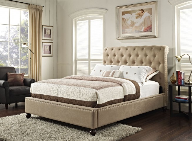 Stanton Bed-N-Box Tan Queen Upholstered Bed