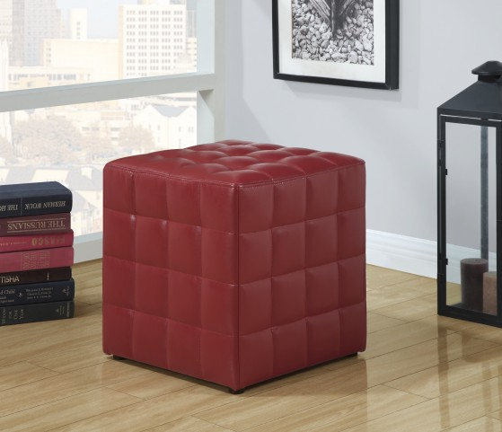 8979 Red Leather-Look Ottoman