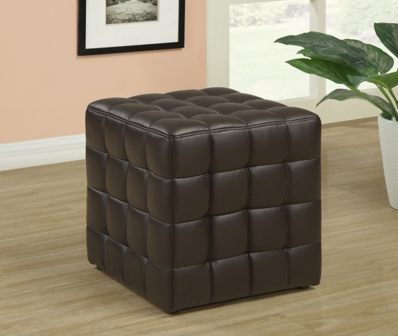 8980 Dark Brown Leather-Look Ottoman