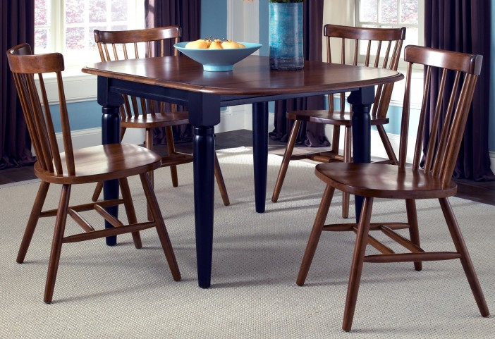 Creations II Black & Tobacco Drop Leaf Extendable Dining Room Set