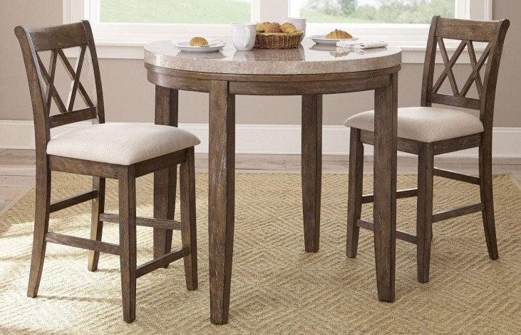 Franco Marble Top Counter Height Dining Room Set